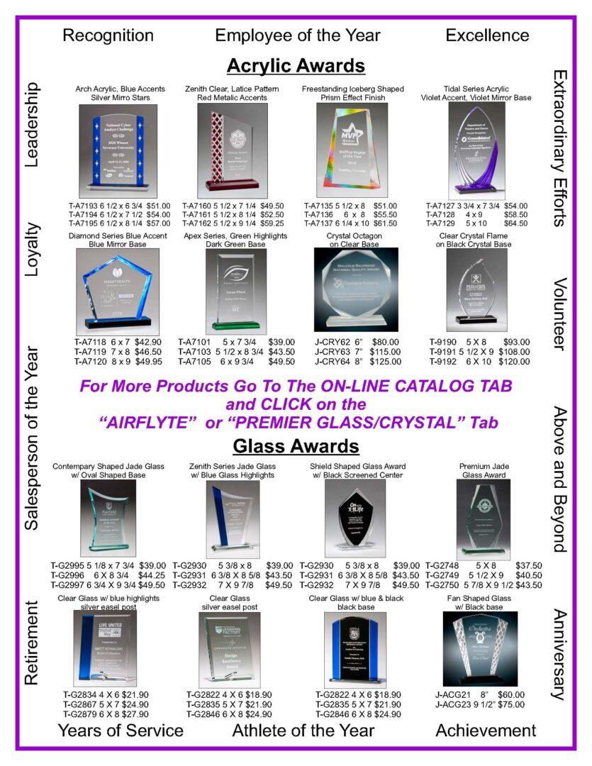 Acrylic, Glass & Crystal Awards Baltimore MD